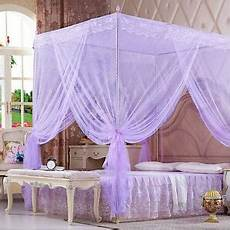 purple lace 4 corners post bed canopy mosquito netting for