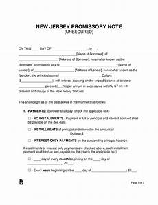Unsecured Promissory Note Template Free New Jersey Unsecured Promissory Note Template Word
