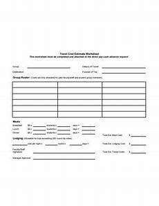 Travel Estimator 15 Estimate Worksheet Templates Excel Word Numbers