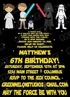 Star Wars Birthday Party Invitations Star Wars Scroll Jedi Birthday Party Printable Invitations