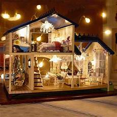 Barbie Doll House With Lights Led Light Miniature Provence Dollhouse Diy Kit Wooden Doll