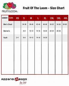 Fruit Of The Loom Size Chart Fruit Of The Loom Size Chart Apparelnbags Com