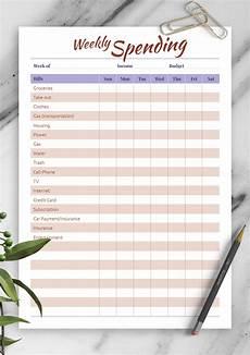 Spending Template Download Printable Weekly Spending Pdf