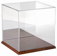plymor brand clear acrylic display with hardwood base