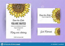 A5 Invitation Template Set Of Wedding Invitation Card Flowers Sunflower A5