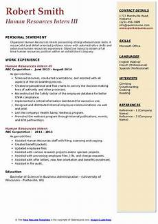 Human Resource Resume Objective Human Resources Intern Resume Samples Qwikresume