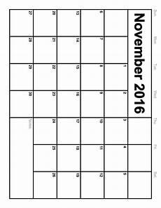 Print A Blank Calendar November 2016 Calendar Printable Monthly Blank Calendar