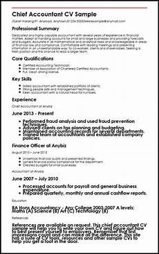 Sample Curriculum Vitae For Accountants Chief Accountant Cv Sample Myperfectcv