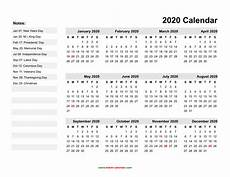 2020 calendar doc yearly calendar 2020 free download and print