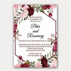 Pink Invitation Card Floral Geometric Birthday Invitation Red Rose Invitations