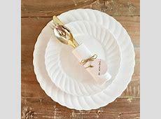 Disposable Vintage Modern White Party Plates. Wedding Plates.