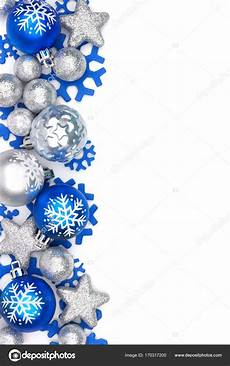 Blue Holiday Border Blue And Silver Christmas Ornament Border Over White
