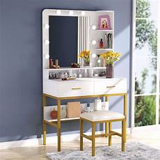 tribesigns vanity table set with lighted mirror stool