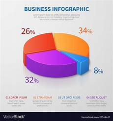 Make 3d Pie Chart Pie Chart 3d Graph Design With Percentages Vector Image
