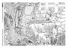 Ausmalbilder Erwachsene Natur Garten Tiere Wimmelbild Ausmalen Wimmelbild