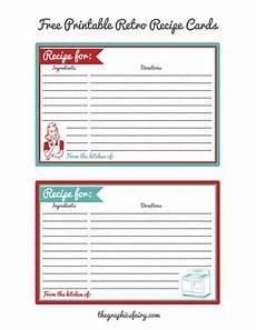 Recipe Cards Printable Retro Recipe Card Printables The Graphics Fairy