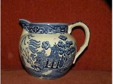 ANTIQUE BUFFALO POTTERY BLUE WILLOW PITCHER 5.50' tall   eBay