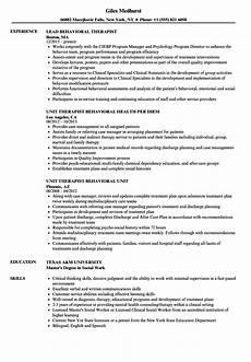 Resume For Therapist Behavioral Therapist Resume Samples Velvet Jobs