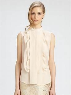 sleeveless ruffle blouse chlo 233 sleeveless silk ruffle blouse in blush lyst