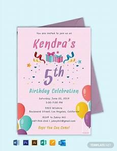 Program To Make Invitations Free Free 5th Birthday Invitation Template Word Doc Psd