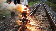 Thermite Welding Fascinating Exothermic Track Welding Video Using Thermite