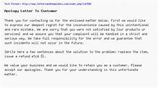 Apology Letter To Customers Apology Letter To Customer
