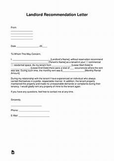 Letter Of Recommendation Landlord Free Landlord Recommendation Letter For A Tenant With