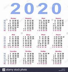Week Calendar Vector Calendar 2020 In Russian Week Starts Monday Stock