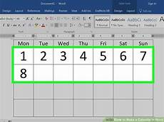 Calendar Word How To Make A Calendar In Word With Pictures Wikihow