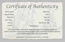 Make A Certificate Of Authenticity Certificate Of Authenticity Of A Fine Art Print