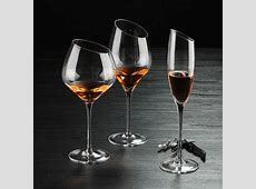 Hand blown oblique mouth burgundy wine glass slant fancy