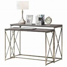 accent table 2pcs set taupe with chrome metal at