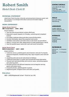 Hotel Desk Clerk Resume Hotel Desk Clerk Resume Samples Qwikresume