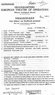 Sample Questionnare Sample Questionnaire Page 1 Wwii Netherlands Escape Lines