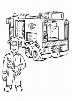 fireman sam checking truck engine coloring page
