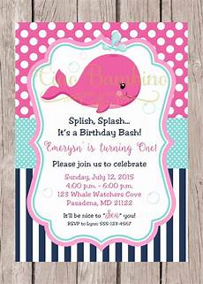 Baby Birthday Party Invitation Printable Pink Whale Birthday Party Invitation Navy Blue