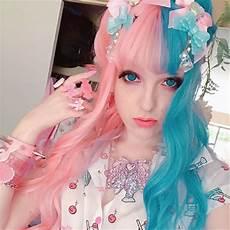 Half Pink Half Blue Half Blue Half Pink Big Wave Wig Yv40408 Youvimi