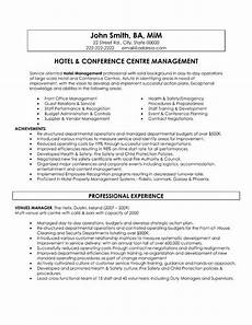 Hospitality Manager Resume A Resume Template For A Hotel And Conference Centre