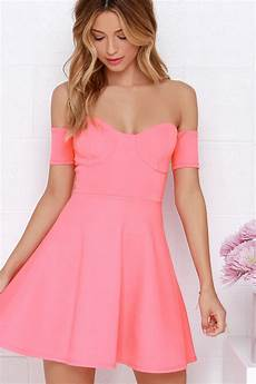 the shoulder dress coral pink dress skater