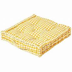 homescapes yellow white gingham check floor cushion