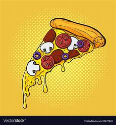 Pop Art Food Hand Drawn Pop Art Of Pizza Fast Food Royalty Free Vector