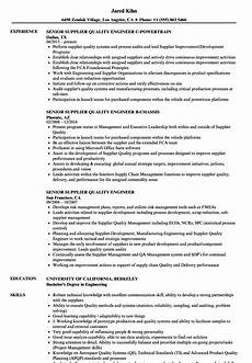 Quality Engineer Resume Samples Senior Supplier Quality Engineer Resume Samples Velvet Jobs