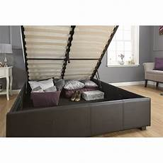 gas lift storage bedstead black faux leather
