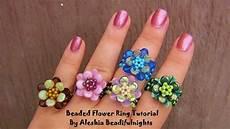 beaded flower ring tutorial