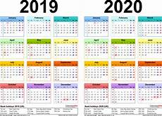 2020 18 Printable Calendar Two Year Calendars For 2019 Amp 2020 Uk For Word
