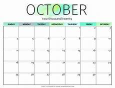 October Calendar Free Printable October 2020 Calendar 12 Awesome Designs