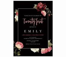 21 Bday Invites Succulent Roses 21st Birthday Invitations