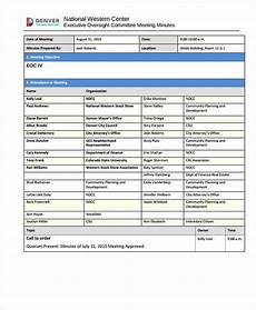 Standard Meeting Minutes 16 Project Meeting Minutes Templates Pdf Free