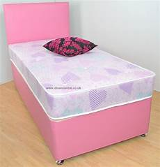 amelia 2ft 6in small single divan bed pink faux leather