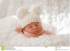 Baby Free Images Sleeping Newborn Baby In Knitted Cap Stock Image Image